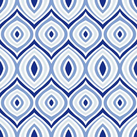 blue Porcelain eye Wave Tribal ornament design seamless pattern vector with white background Stock Illustratie
