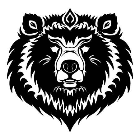 ิBear face or Bear head tribal tattoo design vector with white background