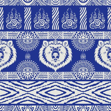 Bear tribe pattern seamless design vector with indigo blue Porcelain color tone Archivio Fotografico - 149062398