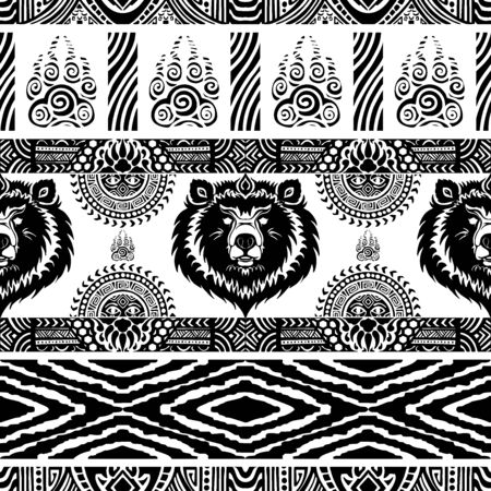 Bear tribe pattern seamless design vector motif with white background Archivio Fotografico - 149062400