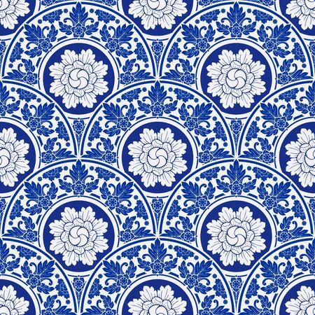 illustration Royal indigo blue Porcelain Thai flower traditional ornamental element style design for seamless pattern vector Archivio Fotografico - 149062413