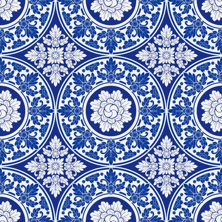 illustration Royal indigo blue Porcelain Thai flower traditional ornamental element style design for seamless pattern vector Stock Illustratie