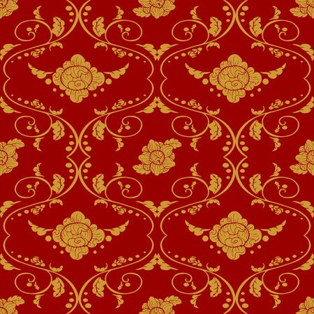 Thai vintage golden flower elemental design seamless pattern vector with red background