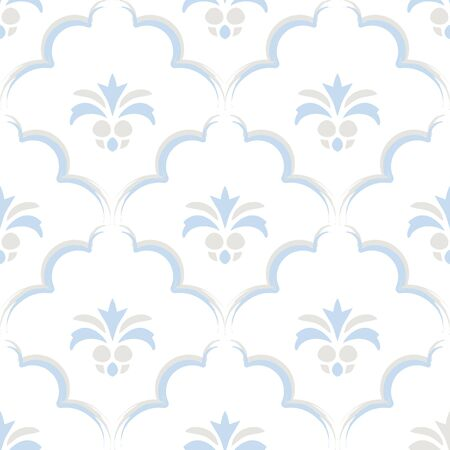 scale and little pineapple Porcelain seamless Paintbrush pattern vector with white background Stock Illustratie