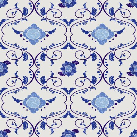 Thai vintage Porcelain flower with indigo blue tone seamless pattern vector Archivio Fotografico - 149659708