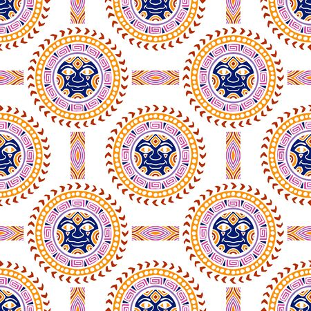 colorful Sun tribal tattoo illustration doodle seamless pattern vector with white background Archivio Fotografico - 149659710