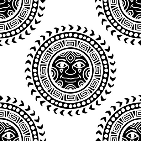 motif Sun tribal tattoo illustration doodle seamless pattern vector with white background