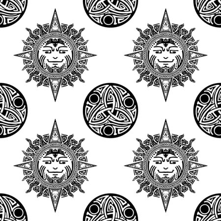 motif Viking Celtic tribal element tattoo design form sun and amulet seamless pattern vector with white background Archivio Fotografico - 149659713