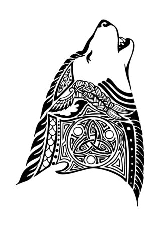 wolf  head  Howling design for Viking Celtic illustration motive tattoo with white background