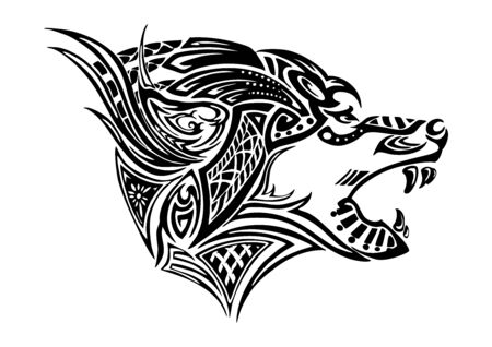 wolf side head design for Viking Celtic illustration motive tattoo with white background
