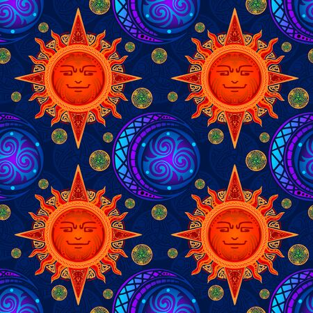 colorful Sun and Moon design with viking style illustration doodle seamless pattern vector with deep blue sky color background 写真素材 - 150219140