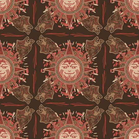 Viking tribal sun and wolf tattoo design for Seamless pattern vector with red brown urban color tone background Stockfoto - 150445353