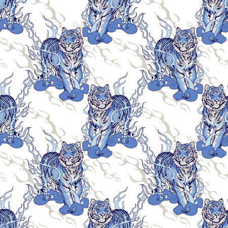 oriental Chinese or Japanese traditional art  Tiger walking on fire design for Porcelain seamless  pattern blue tone with white background Stockfoto - 150823878