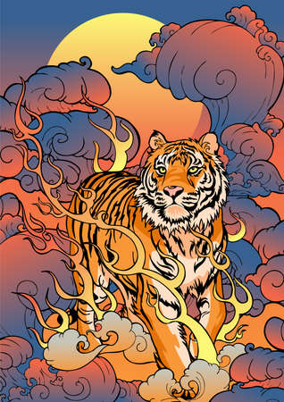 oriental Chinese or Japanese traditional art  Tiger walking on fire design for Porcelain seamless  pattern blue tone with white background Archivio Fotografico - 150823879