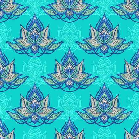 Lotus flower henna illustration doodle abstract tattoo vector seamless pattern design for print fabric wallpaper with green blue tone background 矢量图像