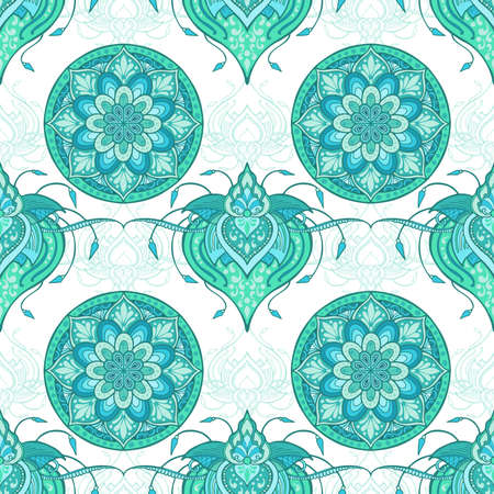 Lotus henna and circle mandala flower illustration doodle design for seamless pattern vector for printing fabric wallpaper background with Aqua mint green tone and white background