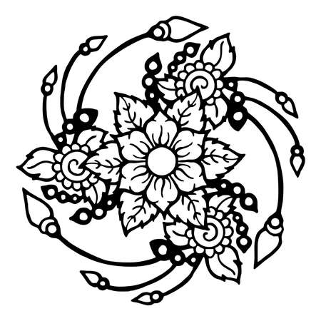 flower henna Three directions tattoo motive black and white vector with white background 矢量图像