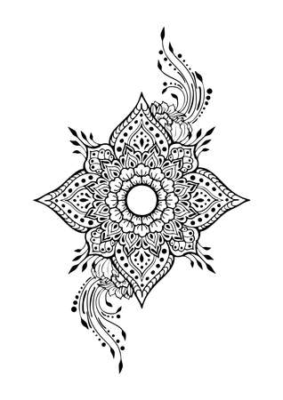 Flower four petals  henna illustration doodle tattoo motif black and white vector with background 矢量图像