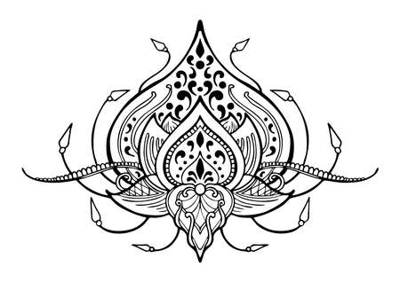 Motif lotus flower henna tribal illustration doodle tattoo vector black and white color with white background