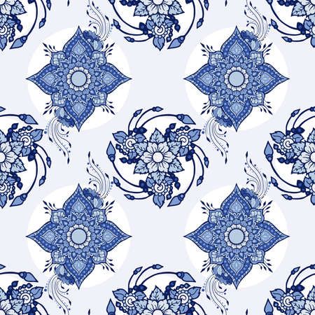 Flower henna tribal illustration doodle tattoo design for seamless pattern vector for printing fabric background with blue Porcelain background 矢量图像