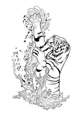 A tiger jumping from the splash water river illustration ink drawing doodle tattoo vector motif black and white background