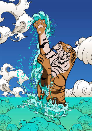 A tiger jumping from the splash water sea beach  illustration  painting doodle vector cartoon color background for digital printing poster paper