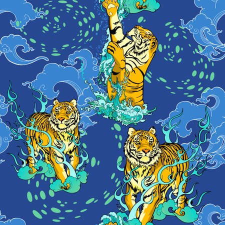 tiger walking and tiger jumping in paradise Chinese illustration doodle tattoo decorate with cloud and thunder lighting with blue green color tone seamless pattern vector background for digital print