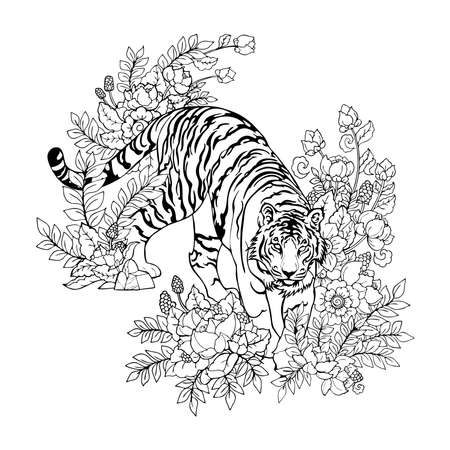 Tiger walking in Flower bush illustration doodle with oriental Chinese  ink drawing tattoo vector with white background 矢量图像
