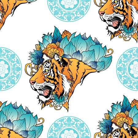 Tiger head with flower oriental Chinese illustration doodle coloring for digital printing seamless pattern  vector with  background