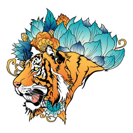 Tiger Head with Flower oriental chinses illustration doodle tattoo  style with coloring vector with white background