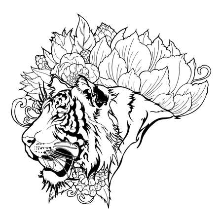Tiger Head with Flower oriental chinses illustration doodle tattoo  style vector with white background