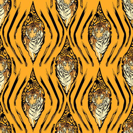 Tiger in Wooden eyes and tiger texture illustration doodle drawing for digital  printing seamless pattern vector with yellow background
