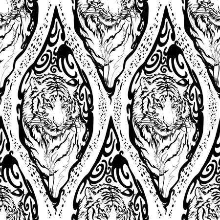 Tiger in Wood seal tribal illustration doodle drawing motif seamless pattern vector with white background 矢量图像