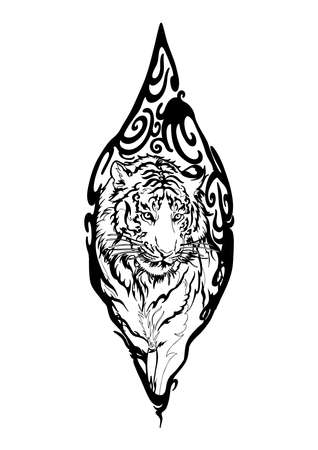 Tiger in Wood seal tribal illustration doodle drawing motif  tattoo vector with white background