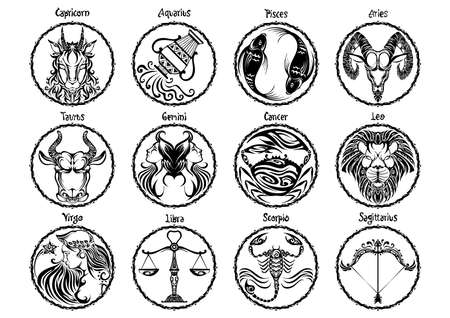 zodiac Astrology horoscope prophecy sign set design and typography with motif black  illustration doodle tattoo style vector with white background Illustration