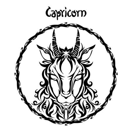 Capricorn zodiac sign design form illustration doodle drawing tattoo and  freehand typography style vector with white background