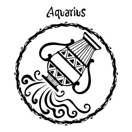 Aquarius zodiac sign design form illustration doodle drawing tattoo and  freehand typography style vector with white background 矢量图像
