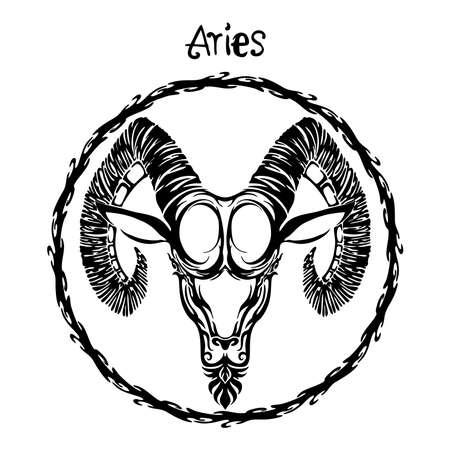 Aries zodiac sign design form illustration doodle drawing tattoo and  freehand typography style vector with white background