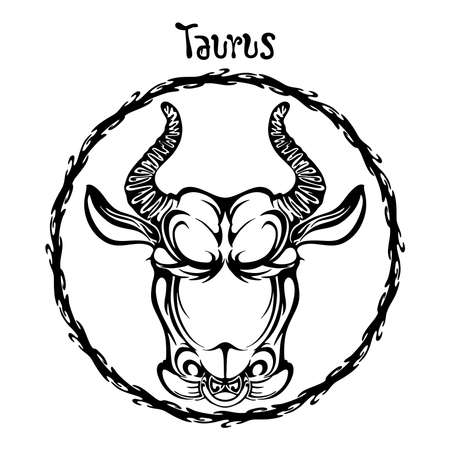 Taurus zodiac sign design form illustration doodle drawing tattoo and  freehand typography style vector with white background
