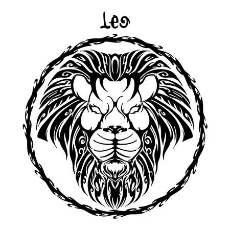Leo zodiac sign design form illustration doodle drawing tattoo and  freehand typography style vector with white background