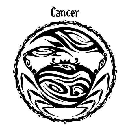 Cancer zodiac sign design form illustration doodle drawing tattoo and  freehand typography style vector with white background