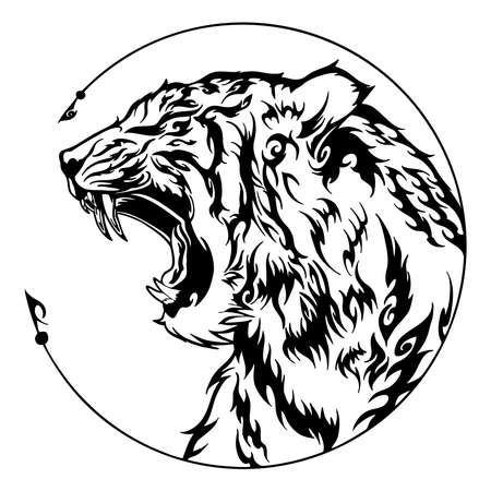 Tiger head roar illustration doodle tattoo design with free hand pen drawing in circle  frame motif black and white vector with white background Illusztráció