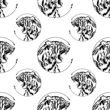 Tiger head roar illustration doodle tattoo design with free hand pen drawing in circle  frame motif black and white Seamless pattern vector with white background for printing Illusztráció