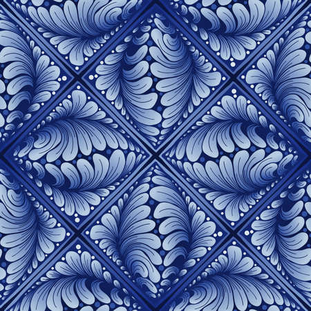 abstract Leaves in a square frame illustration painting with indigo blue porcelain color seamless pattern background for digital printing Stock fotó