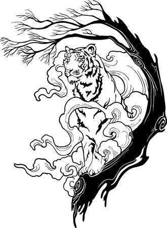 Tiger standing on the tree with steam cloud design for illustration ink drawing tattoo motif vector with white background