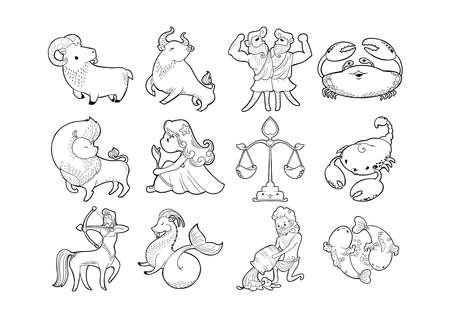 Zodiac astrology horoscope sign set illustration doodle ink drawing character cute kawaii cartoon vector  with white background