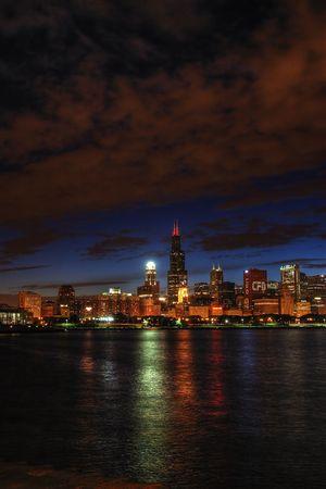 adulation: Chicago skyline night lake michigan