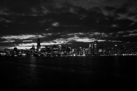 Chicago skyline night lake michigan black&white