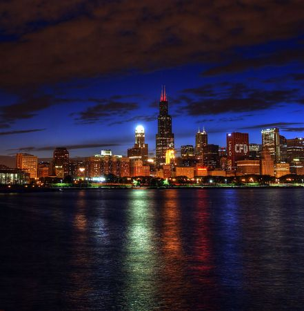 Chicago skyline night lake michigan
