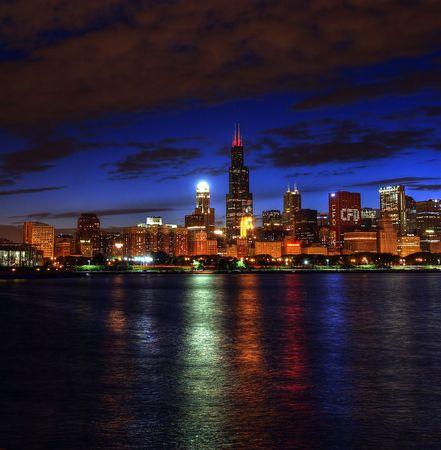 lake district: Chicago skyline night lake michigan